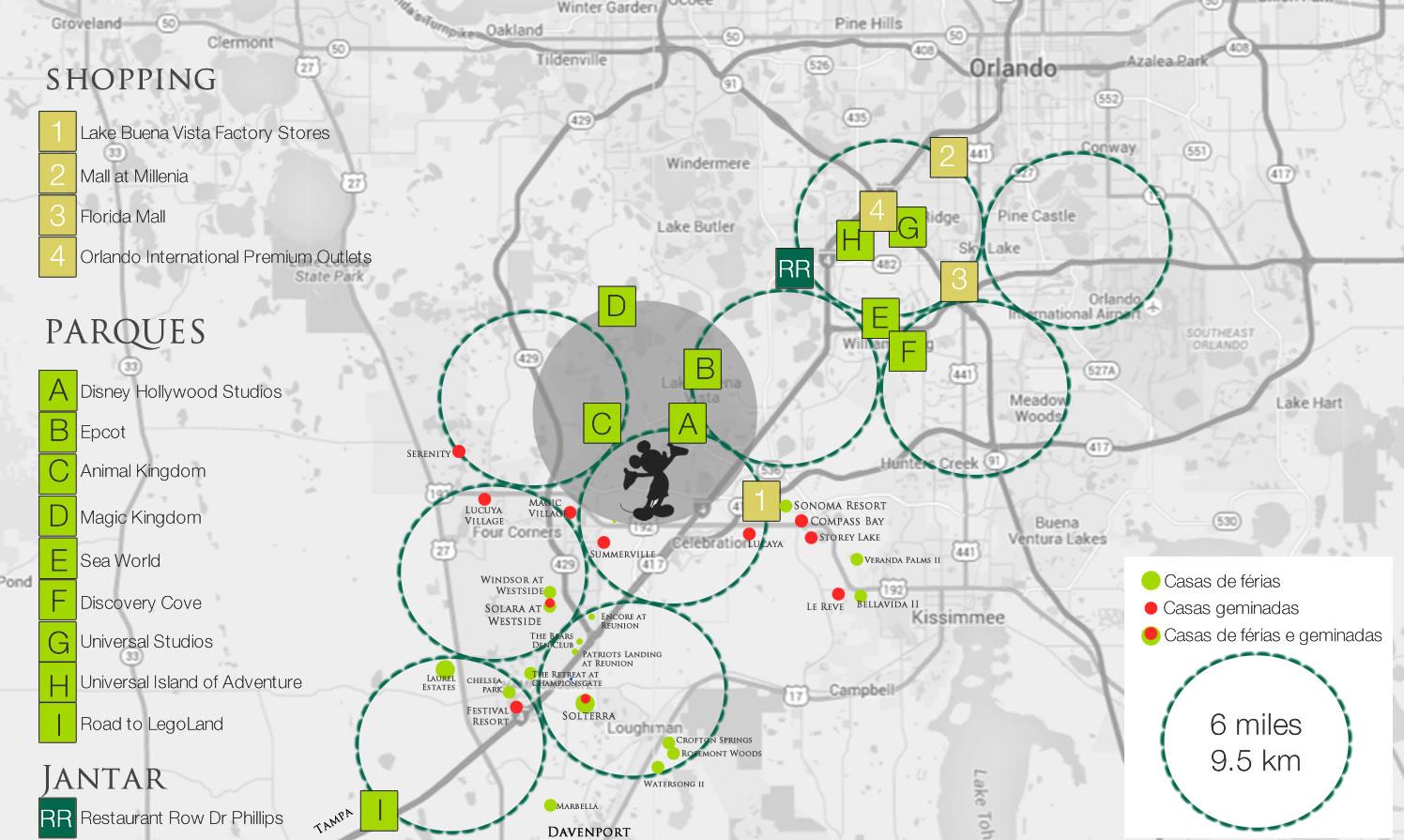 mapa casas de férias, shopping e parques em Orlando